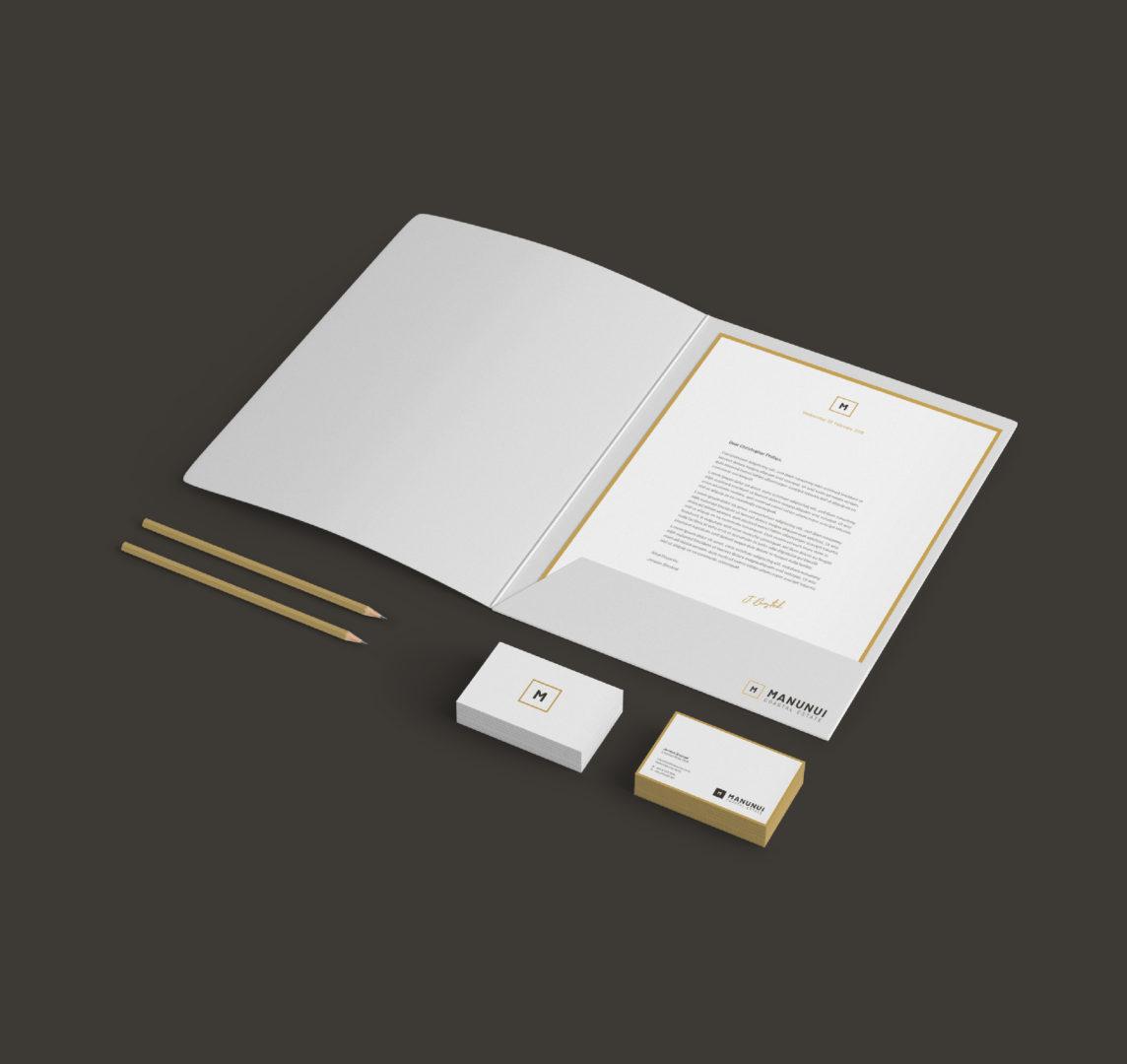 Manunui letter business cards pencil folder