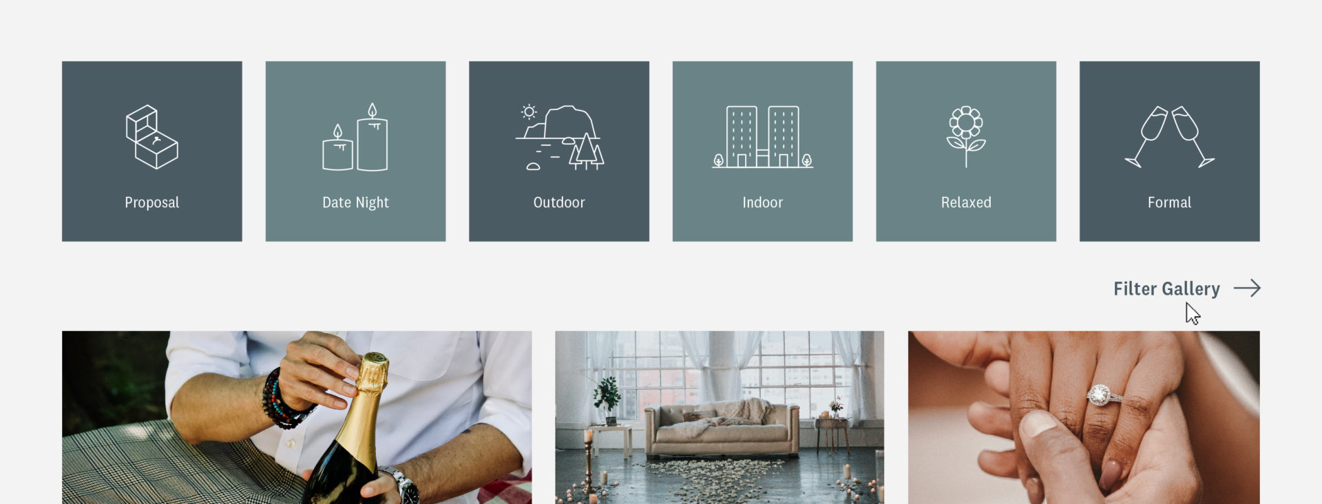 Proposal Planners website icons hands ring champagne