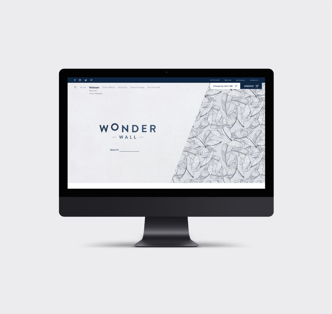 Wonder Wall computer screen website logo landing page