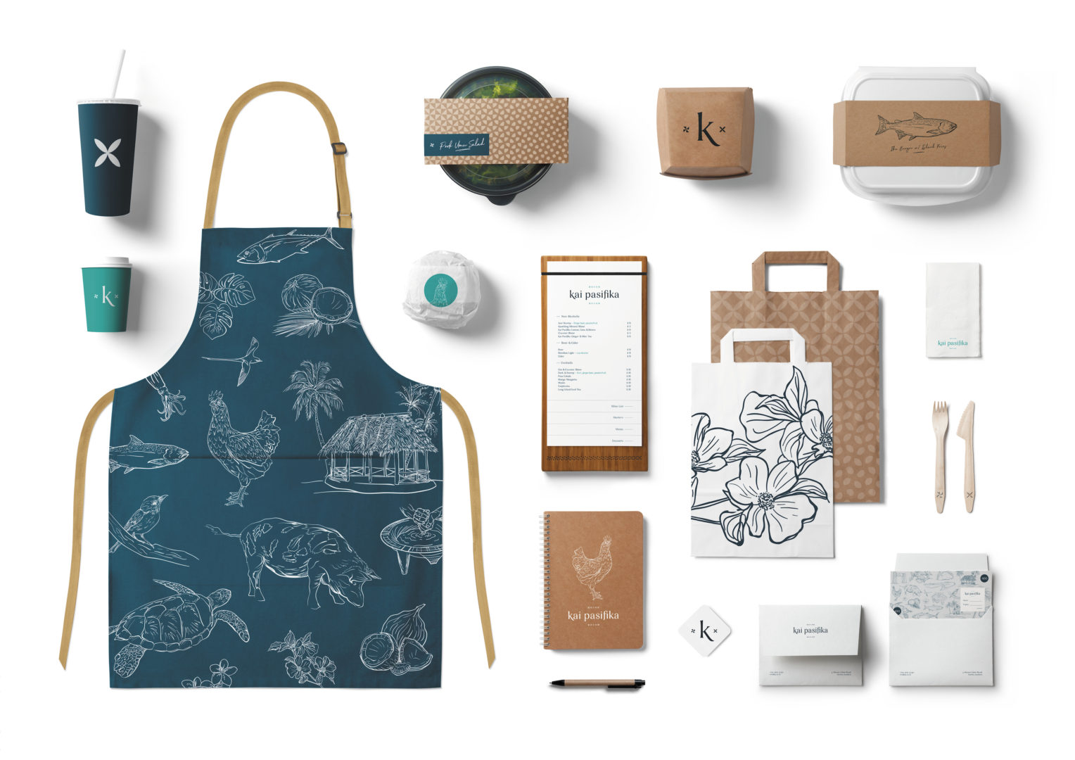 Kai Pasifika packaging uniform takeaway cup diary pen stickers envelope cutlery